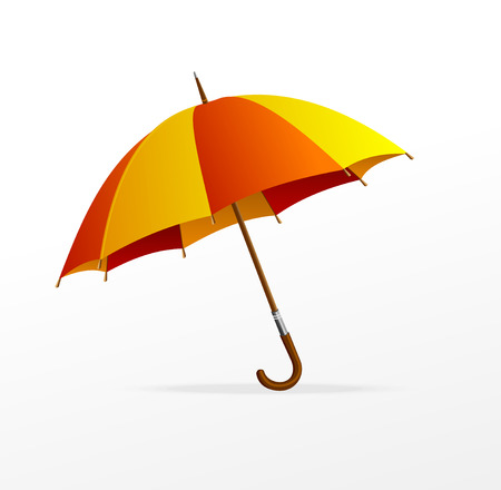 yellow umbrella: Vector red and yellow umbrella isolated on white