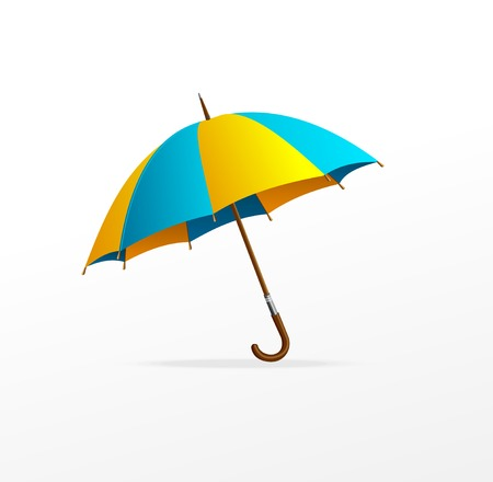 yellow umbrella: Vector blue and yellow umbrella isolated on white