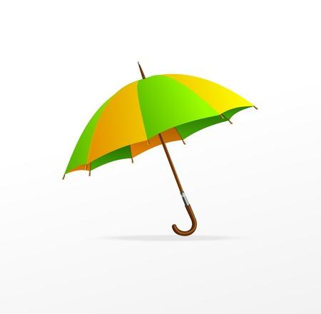 yellow umbrella: Vector green and yellow umbrella isolated on white Illustration
