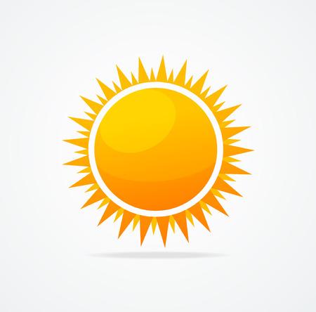 morning sun: Vector Set of glossy sun on white