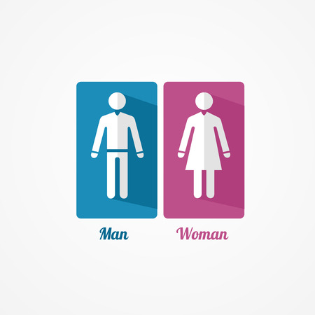 compliant: Man and Woman flat icon with shadows on white