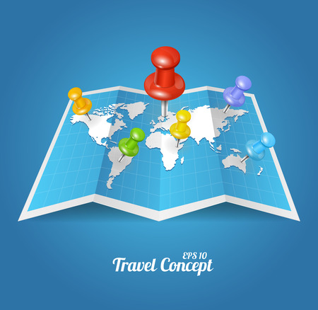 world location: Vectior World Map with color geo location pin pointers Illustration