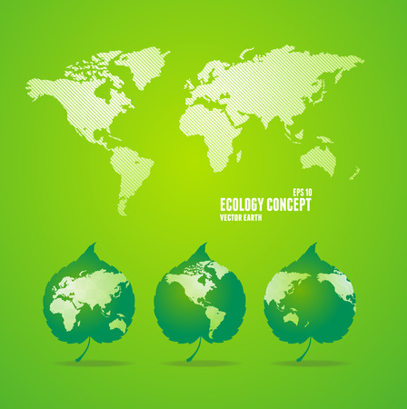 Green world maps and leaves like globe and world map. Eco concept Illustration