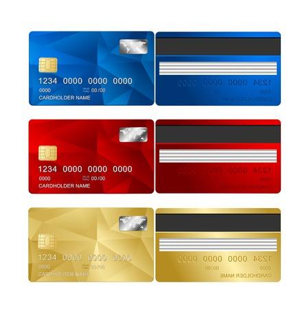 Credit Card set, two sides Stock Illustratie