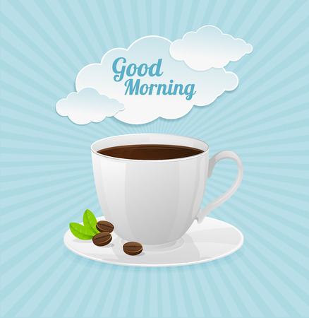 good break: white coffee cup and text cloud. Good morning card
