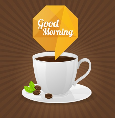 blanc: Vector white coffee cup and text cloud. Good morning card