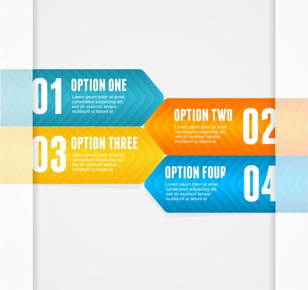 3 4: colorful text boxes, infographics options banner 1 2 3 4 concept