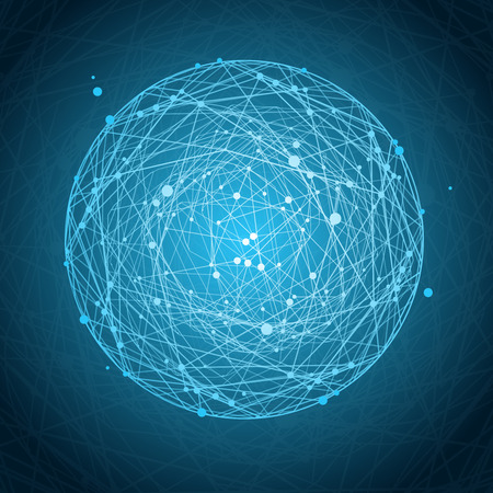 connected idea: Abstract Background with Blue Sphere and Lines. Space concept