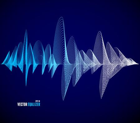 sonido: Vector ecualizador, colorido bar musical. Fondo oscuro. Concepto Wave