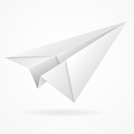 Vector origami paper airplane on white background isolated