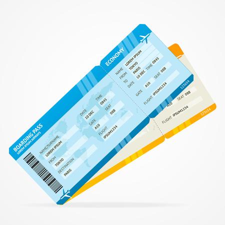 Vector Moderne Fluggesellschaft Bordkarte Karten, isoliert auf weiss Standard-Bild - 35114282