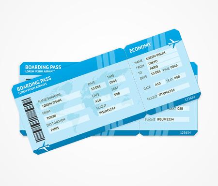Vector moderna aerei pass biglietti di imbarco isolato su bianco