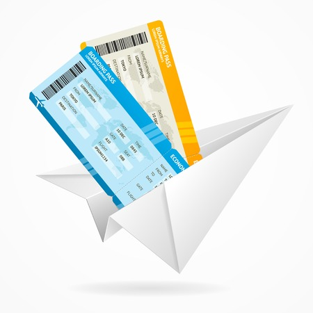 fly up: Vector tickets and globe, travel concept isolated on white
