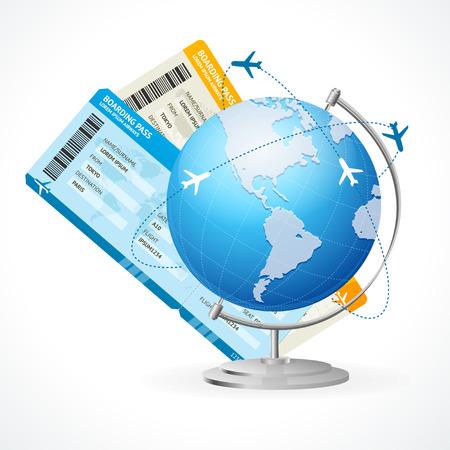 Biglietti vettoriali e globo, concetto di viaggio isolato su bianco