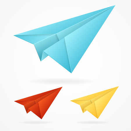 glider: Vector origami paper blue, red, yellow airplane on white background isolated Illustration