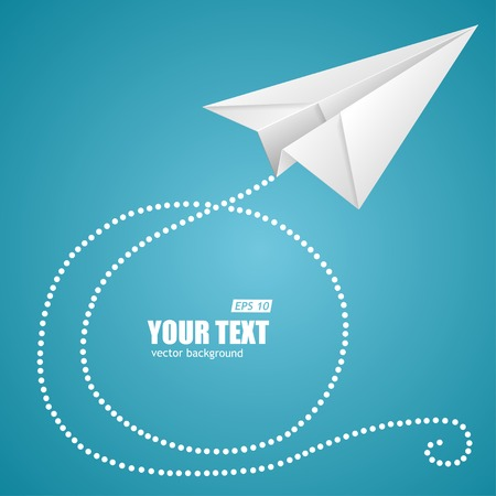 paper art: White paper plane on blue sky and text box.