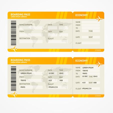 aereo: Vector Arancione Moderno aerei pass biglietti di imbarco isolato su bianco