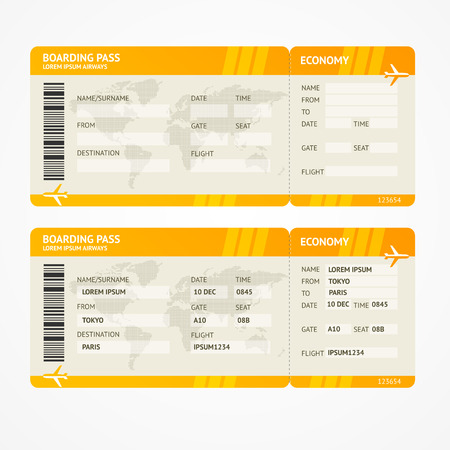 passenger airline: Vector Orange Modern Airline boarding pass tickets isolated on white
