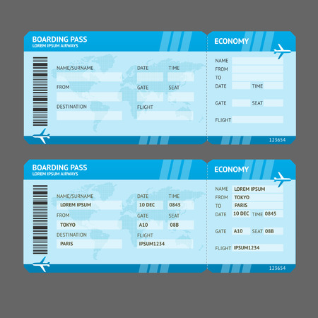 board: Vector Blue Modern Airline boarding pass tickets isolated on white