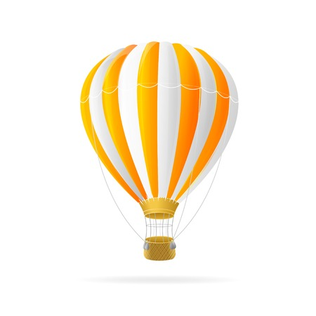 air sport: Vector white and orange hot air ballon isolated on white background