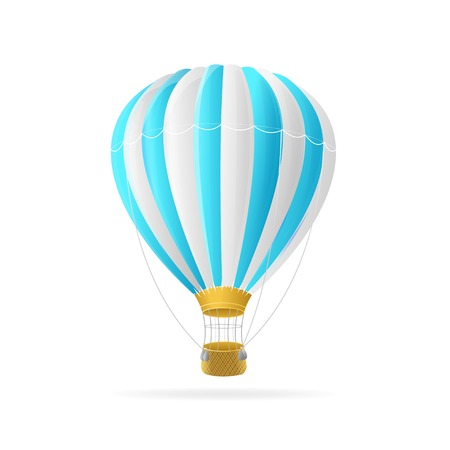 inflate: Vector white and blue hot air ballon isolated on white background Illustration
