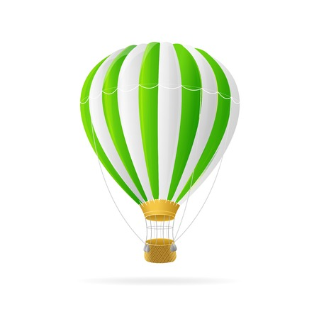 Vector white and green hot air ballon isolated on white background