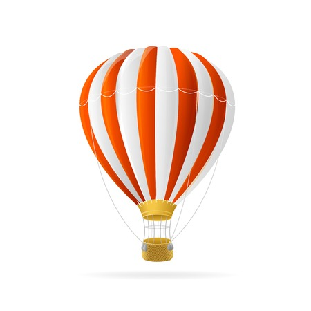 float fun: Vector white and red hot air ballon isolated on white background