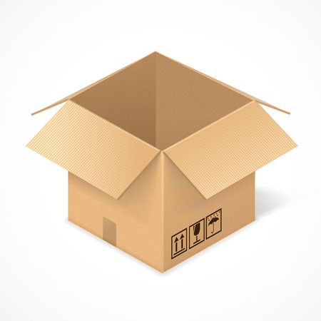 packer: Opened cardboard box, isolated on white background. Package