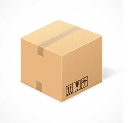 packer: Closed cardboard box, isolated on white background. Package Illustration