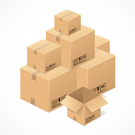 moving office: Cardboard boxes isolated on white background .