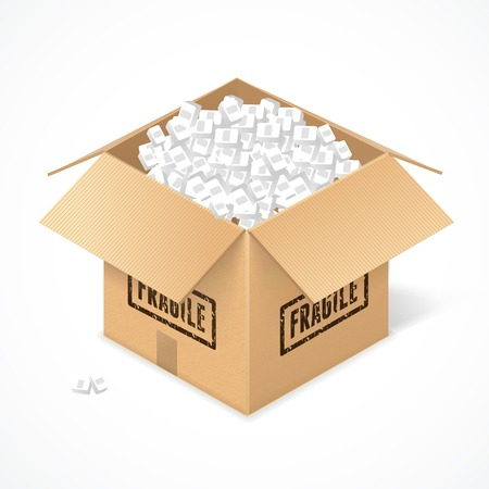 package sending: Opened cardboard box, isolated on white background. Package