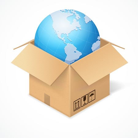 wide open: Opened cardboard box and globe, isolated on white background. World wide delivery concept Illustration