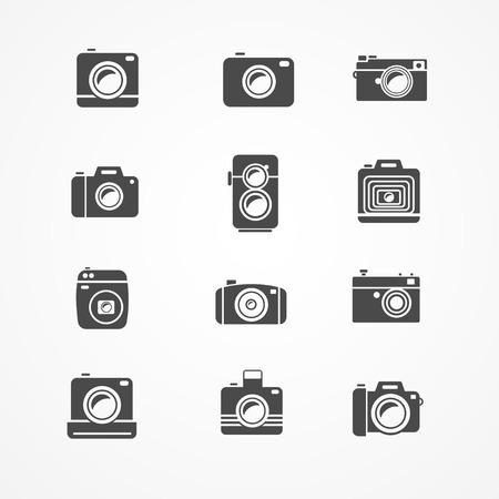 camera icon set: Vector photo camera retro and new icon set black