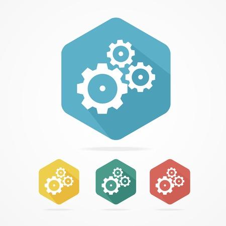 rackwheel: Gear icon set. Flat design style. Isolated on white