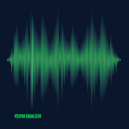 green concept: Vector equalizer, colorful musical bar. Dark background
