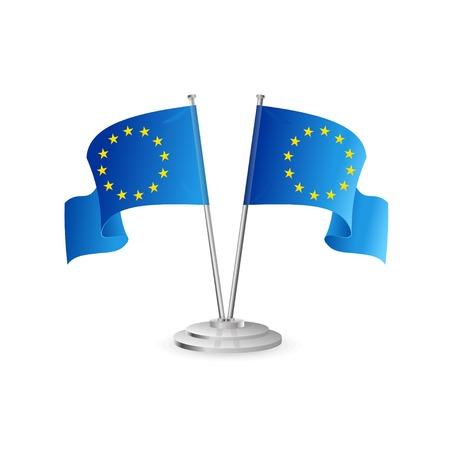 bruxelles: European union vector table flag isolated on white
