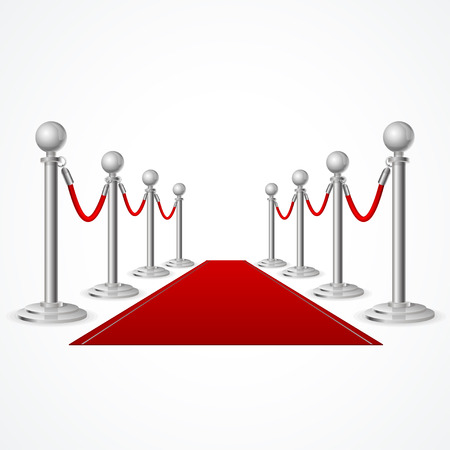 Vector red event carpet isolated on white background Illustration