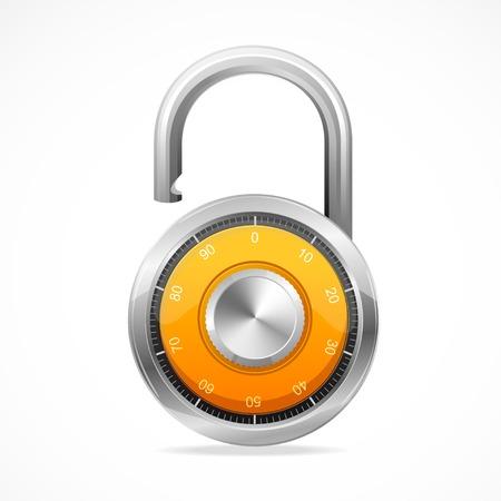Combination Opened Lock, Security Concept. Vector padlock