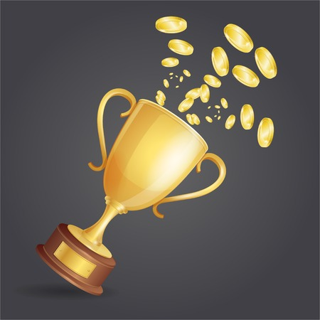 Vector golden winner cup and coins on dark background Illustration