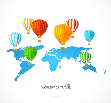 Vector hot air and modern world map. Travel concept Illustration
