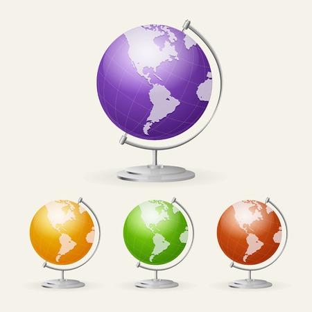 globus: Vector school Globe set isolated on white backgroind Illustration