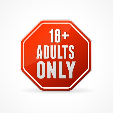 Vector Round Icon of Adults only sign on white