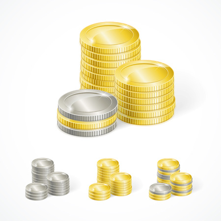 silver coins: Vector illustration stacks of golden and silver coins isolated Illustration