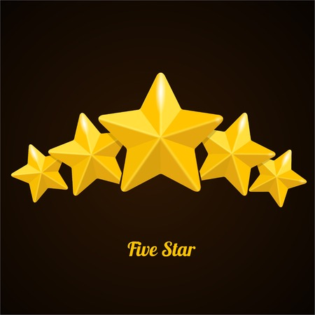 five star: Vector rating with five stars concept on black background
