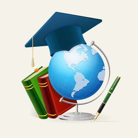 school exam: Vector Graduation cap, stack of books, globe, and pen. Concept Isolated on white background. Illustration