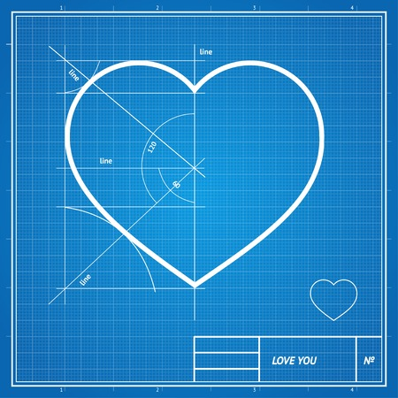 Vector Holiday Card. Heart on blueprint paper. Valentines day concept. Çizim