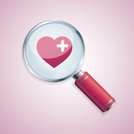 Dating concept loupe and heart valentine card Illustration
