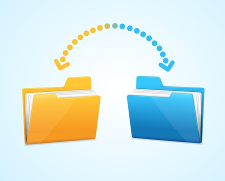 duplication: Moving documents between two folders concept .