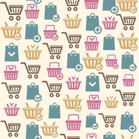 ショッピング カート アイコン パターン背景のベクトルを設定  イラスト・ベクター素材