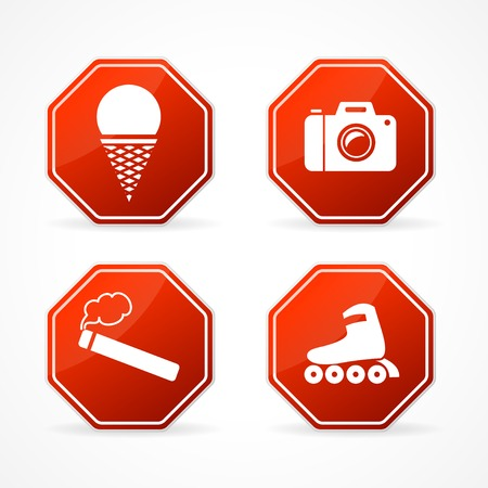 Vector forbidden, sign stop on white background . Vector